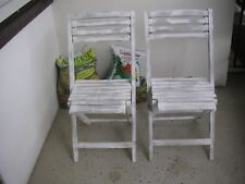 Sommer 2 x Klappstuhl Holz Weiß Gartenstuhl Stuhl Garten Balkon Loft Vintage