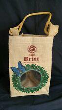 Vintage triangle Bag Cafe Britt burlap Sack wine holder COSTA RICA COFFEE ground