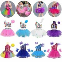 Kids Girls Shiny Sequins Dance Dress Ballet Jazz Stage Dancewear Skirt Costume