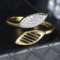 Wrap Leaves Open Band Silver & Gold Filled Crystal Sapphire Women Wedding Ring