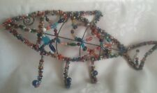 BEAUTIFULLY BEADED VINTAGE FISH WIRED WALL (3) HOOK HAT, TOWEL, COAT  HANGER