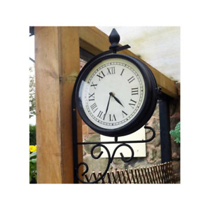 NEW OUTDOOR RAILWAY GARDEN VINTAGE ROMAN NUMERAL TRADITIONAL STATION WALL CLOCK
