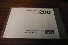 NUOVO MASSEY FERGUSON MF 200 hi-dump Rimorchio operatori manuale di istruzioni 6,5