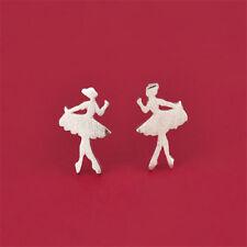 Fashion Cute Little Ballet Dancer Silver Plated Earrings Ear Stud Jewelry Gift