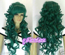 Charming women Long  Dark Green Curly Hair Lady's Full Wigs+Free wig cap
