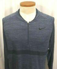 Nike Golf Dri Fit Knit Half-zip Carbon Thunder Blue L/s Top XL 892221