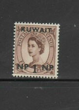 KUWAIT #129  1957  1np on 5p QE II   SURCHARGED   MINT  VF NH  O.G