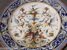 """Großer Prunkteller """" Ginori Doccia """" Majolika um1880 Vögel Fabelwesen Wandteller"""