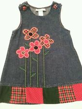 Girls Denim Sundress 4T Blue Red Flowers Samantha Says EUC