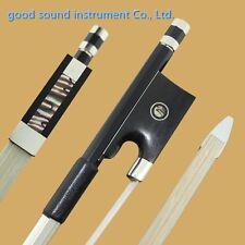 10pc black natural fiber 4/4 violin bow AAA white horse hair bow nickel part