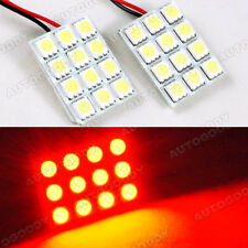 2pcs Red LED Panel 12-SMD Dome Map Door Trunk Light Super Bright
