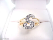 """DIAMONDS INITIAL  """"S""""  14K GOLD  VINTAGE NEW OLD STOCK RING"""