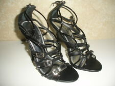 """NEW BEBE SONORA LEATHER Size 7 M BLACK SHOES SANDALS STRAPPY 4 3/4"""" HEELS WOMEN"""
