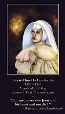 Blessed Imelda Lambertini Prayer CARD (wallet size)