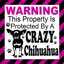 Warning This Property Is Protected by a Crazy Chihuahua Door Window Sticker