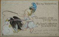 Patriotic Valentine's Day 1907 Raphael Tuck Postcard: Cupid & Bald Eagle-Tuck #3