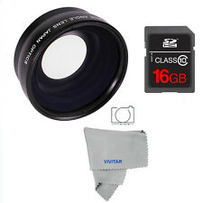 HD WIDE ANGLE MACRO LENS + 16GB SD FOR CANON EOS REBEL 1100D 1200D 1300D T5 T3I