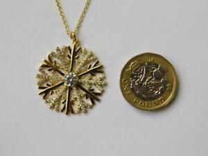 New 9ct Yellow Gold on 925 Sterling Silver CZ Snow Flake Pendant and Chain