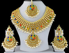 Gold Tone Kundan Pearl Necklace Earrings Indian Bollywood Jewelry Bridal Set