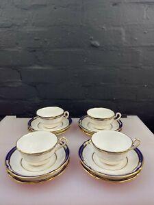 4 x Spode Chancellor Cobalt Blue Tea Trios Cups Saucers Plates Last Set RARE