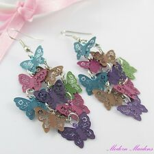 Multicoloured Filigree Stamped Butterfly Hook Earrings 69mm
