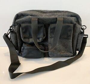 Dolce Gabbana Bag Briefcase Crossbody Travel Nylon Wool Handbag Gray