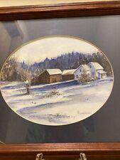 Original E Thompkinson Vermont Winter Landscape Watercolor