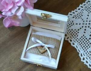 Personalized Wooden Wedding Ring Box, Rustic White Pillow Holder, Burlap Rolls.