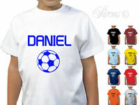 PERSONALISED FOOTBALL DESIGNER BOYS GIRLS T-SHIRT TSHIRT CHILDRENS KIDS