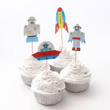 24 x Space Theme Rocket Alien Robot Picks Cupcake Toppers Flag Kids Birthday