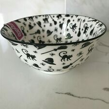 Coco & Lola Mugshotz Premium Collection Halloween Black Cat Witch Footed Bowl