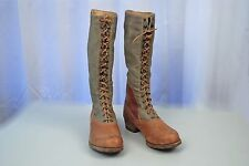 WWII GERMAN AFRIKA CORPS CANVAS & LEATHER HIGH TOP BOOTS - EXCELLENT!
