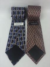2 Van Heusen Silk Men's Ties Blue Gray Grey Brown Tan