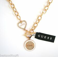"GUESS WHITE+ROSE GOLD TONE ""LOVE"" CRYSTAL HEART+ROUND PENDANT TOGGLE NECKLACE"