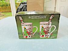 Intl. Silver Comany Holiday Spirit 2 Piece Mug Set Silver Plate Spoons NIB