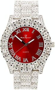 Men Fully Iced Watch Bling Rapper Lab Simulate Diamond Silver Red Band Luxury