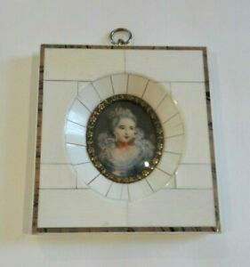 19th C. Miniature Watercolor Portrait Painting, Lady with Red Bow (#2)