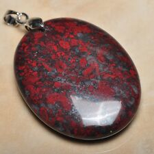 "Extremely Red Natural Bloodstone 925 Sterling Silver Clasp 2"" Pendant #P10298"