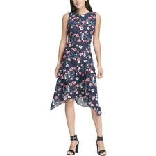 NWT DKNY sz 12 Midnight Navy Blue Sleeveless Floral Print Handkerchief Hem Dress
