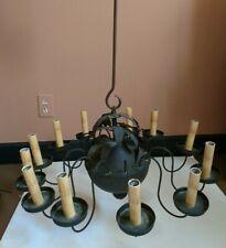 Vintage Twelve Light Electric Black Tole Chandelier Pineapple Leaf Urn Mid 20C