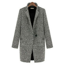 Women Lapel Wool Cashmere Coat Trench Jacket Gray Long Parka Overcoat Outwear