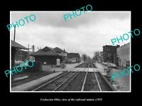 OLD LARGE HISTORIC PHOTO OF COSHOCTON OHIO, THE RAILROAD DEPOT STATION c1955