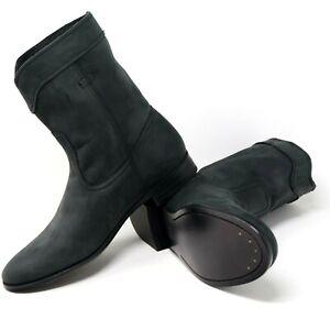Frye Cara Roper Leather Cowboy Boots Short Soft Black Nubuck Suede Womens Size 7