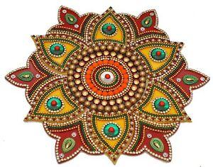 Flower Shape Set Of 13 Pcs Acrylic Rangoli ((Red & Yellow) For Diwali/Deepavali
