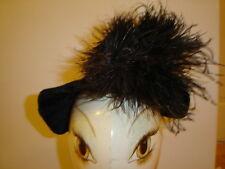 Vintage Victorian small black velvet straw hat bonnet brimmet mourning