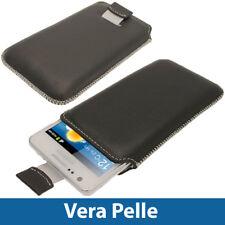 Nero Vera Pelle Pouch per Samsung Galaxy S2 II i9100 Case Cover Custodia