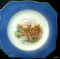 "Royal Winton Olde Warwick Village Cake Plate, Blue Rim Ascot 9 5/8"" Plate"