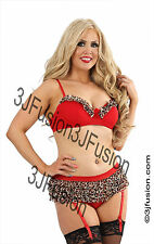 Sexy RED/LEOPARD Bra and Ruffle Mesh Brief Set FREE POSTAGE (FU)