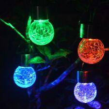 Lights LED Bulbs Crackle Glass Ball Lamp Outdoor Light Solar Powered Lights