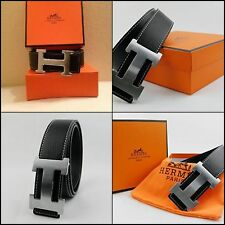 Reversible Leather Mens Black Hermes Belt with silver buckle Christmas Gift Dad